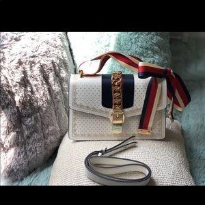 Gucci sylvie white shoulder bag